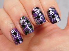 UberChic Beauty Halloween 01 & 02 over Sassy Pants Create, stamped with Messy Mansion polishes. Check out these great spider webs with spiders! These are spook-tacular Halloween Nails. Nail art rocks! #UberChicBeauty #UberChic #nails #nailaddict #nailart #nailstamps #HalloweenNails #spiders #spiderwebs