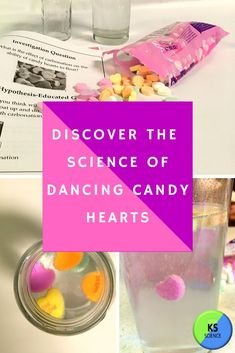 Discover buoyancy and density using candy hearts.  This fun and engaging science lab is perfect for Valentine's day.  Kids of all ages can enjoy counting the hearts going up and down.  It will also teach students a little soda pop science.  It even expands into teaching how lifejackets work.  Easy to set-up and perfect for the classroom party, lesson, and science fair project. Food Science Experiments, Easy Science, Science Fair Projects, Science For Kids, Kindergarten Science Activities, Winter Activities, Chemistry For Kids, Science Valentines, Fourth Grade Science