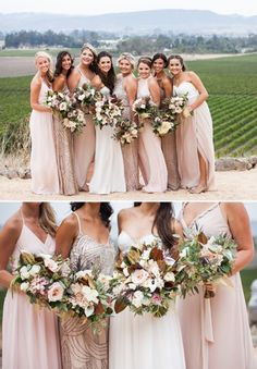Image result for bridesmaid dresses to go with blush flowers