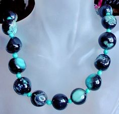 Black Blue Turquoise Color Round Texture Agate c/w by camexinc, $28.00
