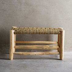 Simple and stylish low wooden bench made from palm wood and woven palm leaves by Tine K home. These beautiful benches are great for entrance hallways or any bathroom or living room that needs a little rustic style. Contemporary Rustic Decor, Wooden Tree, Home Trends, Deco Furniture, Home And Deco, Home Furnishings, Bench, Rattan, Home Decor