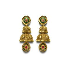 Explore the magnificent collection of traditional jhumka earrings that fits with every occasion and clothing. A wide range of Indian fashionable bridal gold jhumki earrings, only on India's splendid online jwellery store, Azva. Jhumka Designs, Gold Earrings Designs, Jhumki Earrings, Stud Earrings, Earring Crafts, Manish, Wedding Earrings, Designer Earrings, Indian Jewelry