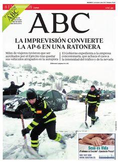 La portada de ABC del lunes 8 de enero