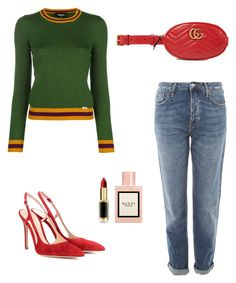 """""""Untitled #52"""" by peterpan130395 ❤ liked on Polyvore featuring Dsquared2, Topshop, Gucci, Gianvito Rossi and L'Oréal Paris"""