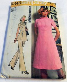 """1970s Pin Tucked A line dress and pants designer fashion sewing pattern Simplicity 5345 Size 18 Bust 40"""" by retroactivefuture on Etsy"""