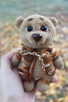 Crochet toy Brown bear Knitted Teddy toy Amigurumi bear Knit | Etsy