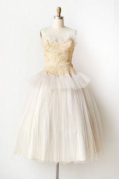 vintage 1950s lace white tulle prom dress | Swans by Moonlight Dress