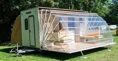 I would perfer to call it a Transformable Mobile House instead of camper or camping trailer when I see this, and was so amazed with awe! My family go camping only once or twice a year, but we do travel nearby often, if we have a 'house' like this, we … Kombi Motorhome, Camper Trailers, Camper Caravan, Luxe Camper, Trailer Awning, Teardrop Trailer, Truck Camper, Camper Van, Camping Ideas
