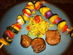 A Completely Raw Meal- kabobs, italian salad and stuffed mushrooms!