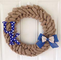 University of Kentucky burlap wreath w/ Chevron bow and UK letters on Etsy, $45.00