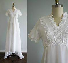 Bohemian vintage wedding dress . 1970s chiffon and lace boho wedding gown with small train . empire waist white wedding dress . small by VelvetPinVintage on Etsy