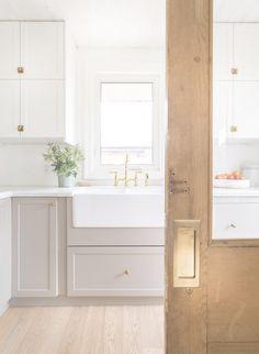 Kitchen designed by Coco & Jack with Emtek Pocket Door hardware. Read More: www…. Kitchen designed by Coco & Jack Ikea Kitchen Cabinets, Kitchen Redo, Kitchen Layout, New Kitchen, Kitchen Ideas, White Ikea Kitchen, Ikea Kitchen Remodel, Eclectic Kitchen, Kitchen Faucets