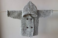 Hand Knitted Baby Hoodie / Hoodie with Pixie Hood by RocoKnitwear