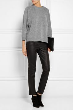 J.CREW Cashmere sweater GIANVITO ROSSI Suede ankle boots JIL SANDER Medium leather clutch  GIVENCHY Leather skinny pants