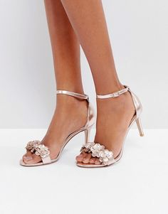 Discover Fashion Online Floral Sandals, Metallic Sandals, Floral High Heels,  Embellished Heeled Sandals 84ec4ce871de