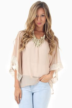 Beige-Chiffon-Crochet-Accent-Blouse #fashion #style