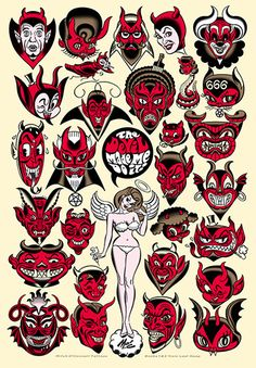 xombiedirge: The Devil Made Me Do It! by Mitch. Flash Art Tattoos, Tattoo Flash Sheet, Diablo Tattoo, Tattoo Drawings, Art Drawings, Berg Tattoo, Old School Tattoo Designs, Devil Tattoo, Satanic Art