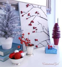 Winter Berries on Canvas Tutorial - from Centsational Girl _ I think this on silver canvas or light board is STUNNING....I am doing this! in a group of small or one large and I mean large one that can be leaned up against a wall, don't forget art, doesn't always have to be hung!