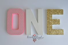 Self Standing ONE 8 Letters 1st Birthday with by KaraLeighDesigns