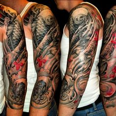 mens japanese flower sleeve tattoos Dragon in place of the Koi