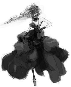 Fashion Illustration. Myrtle Quillamor, Fashion Illustrator. Danse Macabre.