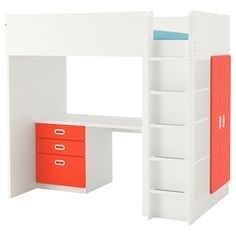 IKEA STUVA / FRITIDS Loft bed with 3 doors These are so awesome! Maybe not in this color but one for each boy- storage and they both get top bunk! Stuva Loft Bed, Ikea Stuva, Loft Bed Frame, Painted Beds, Casa Loft, High Beds, Ikea Family, Ikea Bed, Home Decor
