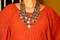 Vtg Huge Old India Banjara Rajasthan Ethnic tribal gypsy belly dance OX bone / silver tone coins dangle statement necklace