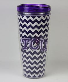 Bought this a few weeks ago to show my school pride at my new job! #TCU Zigzag 18-Oz. Travel Mug on zulily today!