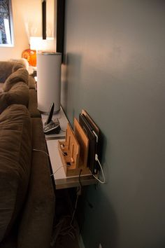 Sofa table using Ikea Ekby Jarpen Wall Mounted Shelves. Great for custom sizes; like behind a sectional sofa or bed Head or side)) | SuperNoVAwife