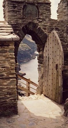 Stairway to the sea at Tintagel Castle in Cornwall, England