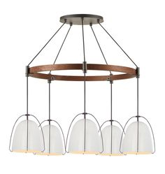 Haleigh 8in 5-Light Chandelier 30in Wood Circle - Gloss White A0512