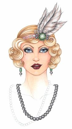 In this The Great Gatsby-themed tutorial, fashion illustrator Jen Hancock teaches how to create feathers with Copic markers. Copic Marker Art, Copic Art, Copic Markers, Louise Brooks, Henna Designs, Roaring Twenties, The Twenties, Copic Kunst, Blackwork