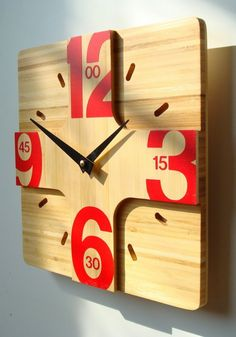 Addison Bamboo Wall Clock Introductory pricing by pilotdesign Big Wall Clocks, Cool Clocks, Clock Art, Diy Clock, Clock Decor, Diy Wall Decor, Clock Ideas, Bamboo Wall, Modern Clock