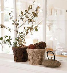 Modèle cache pot tricot