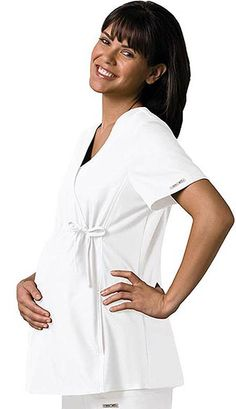 Style Code: (CH-2892WH)   This unique maternity top features an adjustable drawstring, empire waist and soft stretchy knit side panels. Contrast topstitching on the front and back princess seams, a patch pocket, pager pocket and hidden pocket finish this picture. Our comfy Maternity styles are designed to support and flatter using your current size, so no need to size up. When ordering Cherokee Maternity styles, remember to order your pre-pregnancy size.
