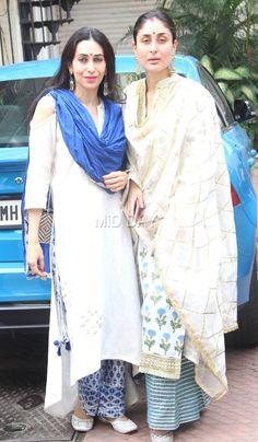 Photos: Taimur's day out with mom Kareena Kapoor Khan and aunt Karisma Kapoor Pakistani Dresses, Indian Dresses, Indian Outfits, Pakistani Fashion Casual, Bollywood Fashion, Bollywood Saree, Karena Kapoor, Kurta Designs Women, Kareena Kapoor Khan