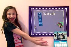 Princess Sarah - looking fab with her purple bulletin board from Cool Corks!