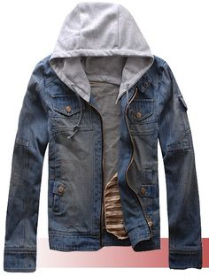 Mens Fashion Blue Jean Zipper Jacket with Snap-on Cap