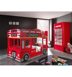 Etagenbett London Bus - rot - cm RollerRoller The Effective Pictures We Offer You About minimalist bedroom furniture A quality picture can tell you many things. You can find the most beautif Couple Bedroom, Bedroom Bed, Kids Bedroom, Kids Rooms, Bedroom Ideas, Bedrooms, Bunk Bed Crib, Bunk Beds, Loft Beds