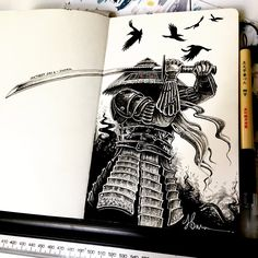 Dark Art Drawings, Ink Pen Drawings, Art Drawings Sketches, Black Pen Sketches, Black Pen Drawing, Samurai Drawing, Samurai Art, Ink Pen Art, Marker Art