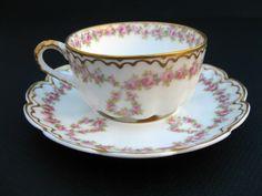 Haviland Limoges Pink Roses Double Gold Trim Tea Cup Saucer