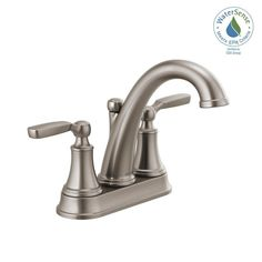 Delta Woodhurst 4 in. Centerset Bathroom Faucet in Stainless - The Home Depot Windsor Colorado, Brushed Nickel Faucet, Delta Faucets, Water Conservation, Country Farm, Bathroom Faucets, Floor Plans, At Least, The Unit