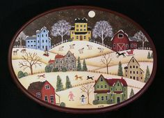 RESERVED FOR NANCYCABLE -Winter Scene Folk Art Primitive Painted Footstool
