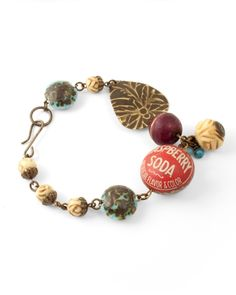 I loved these bottlecap beads from Glass Garden beads! This was a fun bracelet to make!