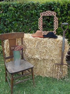 Photo booth or Outdoor Decor or Decorate the FRONT Entrance Foyer (I have a pitchfork & wine barrel rings)