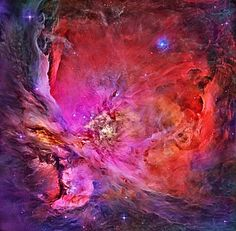 M42: Inside the Orion Nebula. The Great Nebula in Orion, an immense, nearby starbirth region, is probably the most famous of all astronomical nebulas. Here, glowing gas surrounds hot young stars at the edge of an immense interstellar molecular cloud only 1500 light-years away. In the above deep image composite in assigned colors taken by the Hubble Space Telescope wisps and sheets of dust and gas are particularly evident.