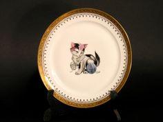 Assiette Petit Chat Porcelaine d'Art Dorée par LArriereBoutique
