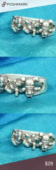Disney Tumbling Pooh Sterling Ring Winnie the Pooh Ring from Disney will tumble head over heels for you! Made of 925 Sterling silver not plated. It is slightly out of round  but doesn't show or affect wearablity. It has a lovely patina. Size 8. Disney Jewelry Rings