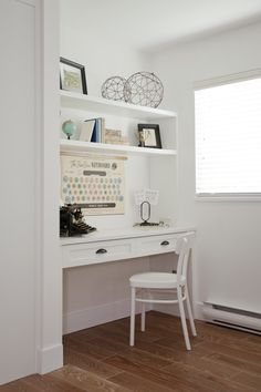 great idea for a small home office builtin desk for a laptop simple floating shelves and accessories