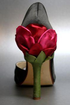 Custom Wedding Shoes -- Black Satin Peeptoes with Red Rose Satin Heel. $165.00, via Etsy.